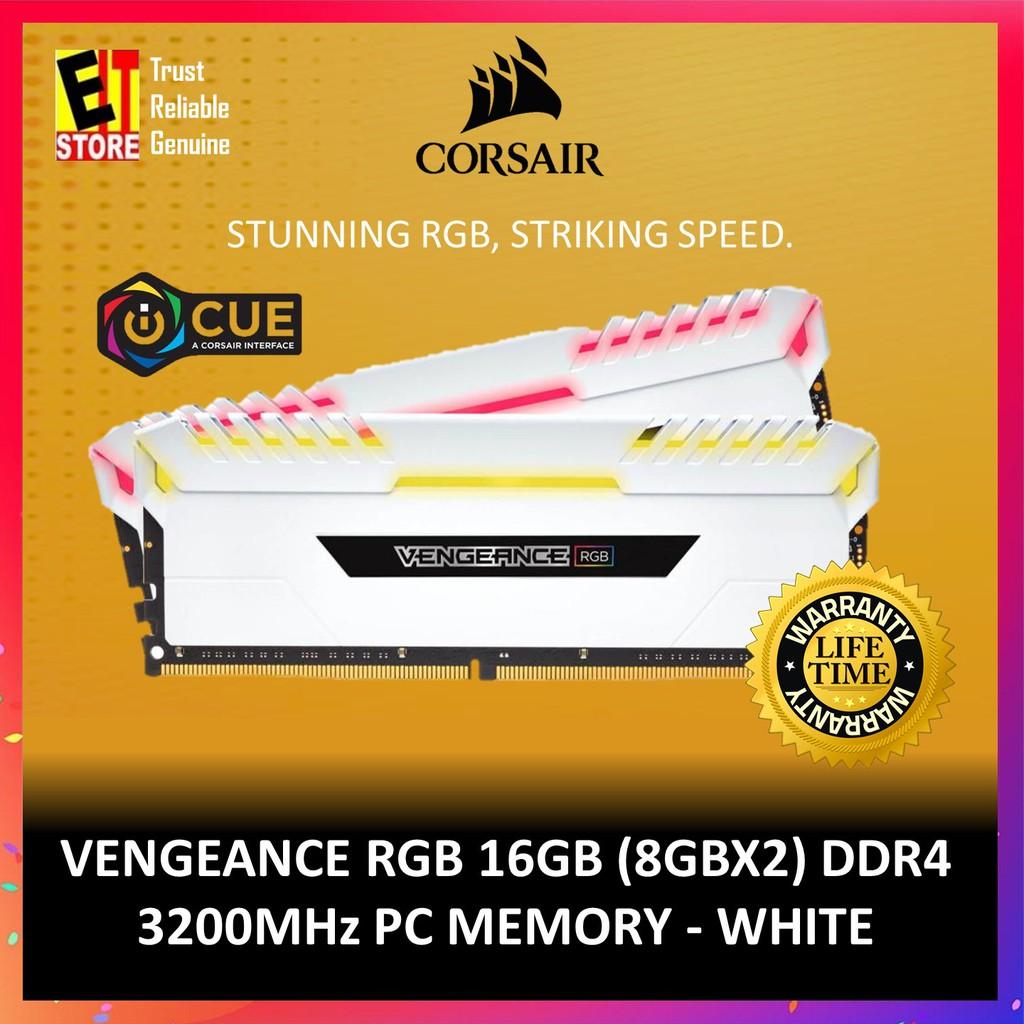 CORSAIR VENGEANCE® RGB 16GB (2 X 8GB) DDR4 DRAM 3200MHZ C16-1 35V - White