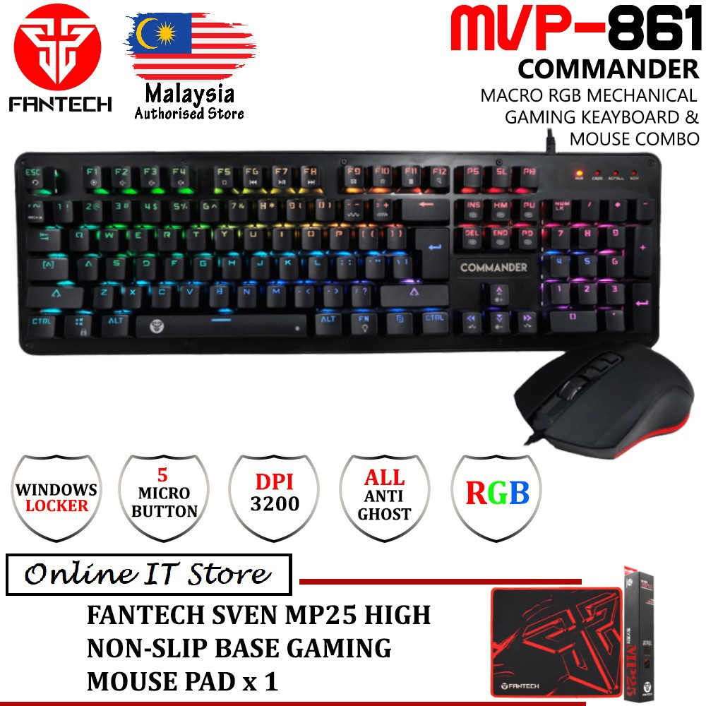Keyboard Gaming K10 Mouse Macro X2 Spec Dan Daftar Harga Terbaru Speaker Fantech Gs 201 Mvp861 Commander Mechanical 18 Rgb Spectrum Mode Shopee Malaysia