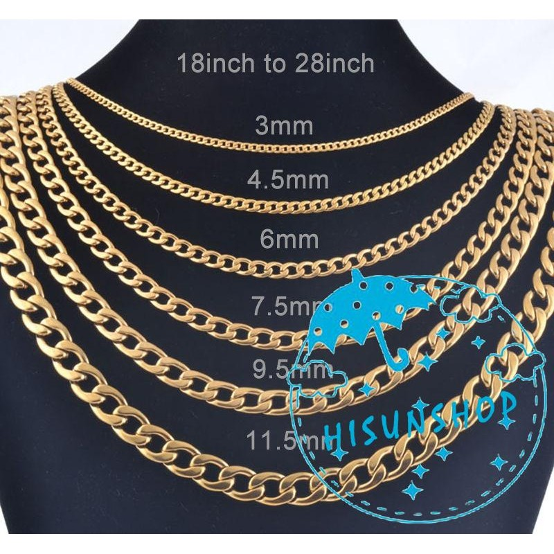 Fashion Mens Womens Kids Gold Plated 6mm Wide Necklace Curb Chains Gold Chain