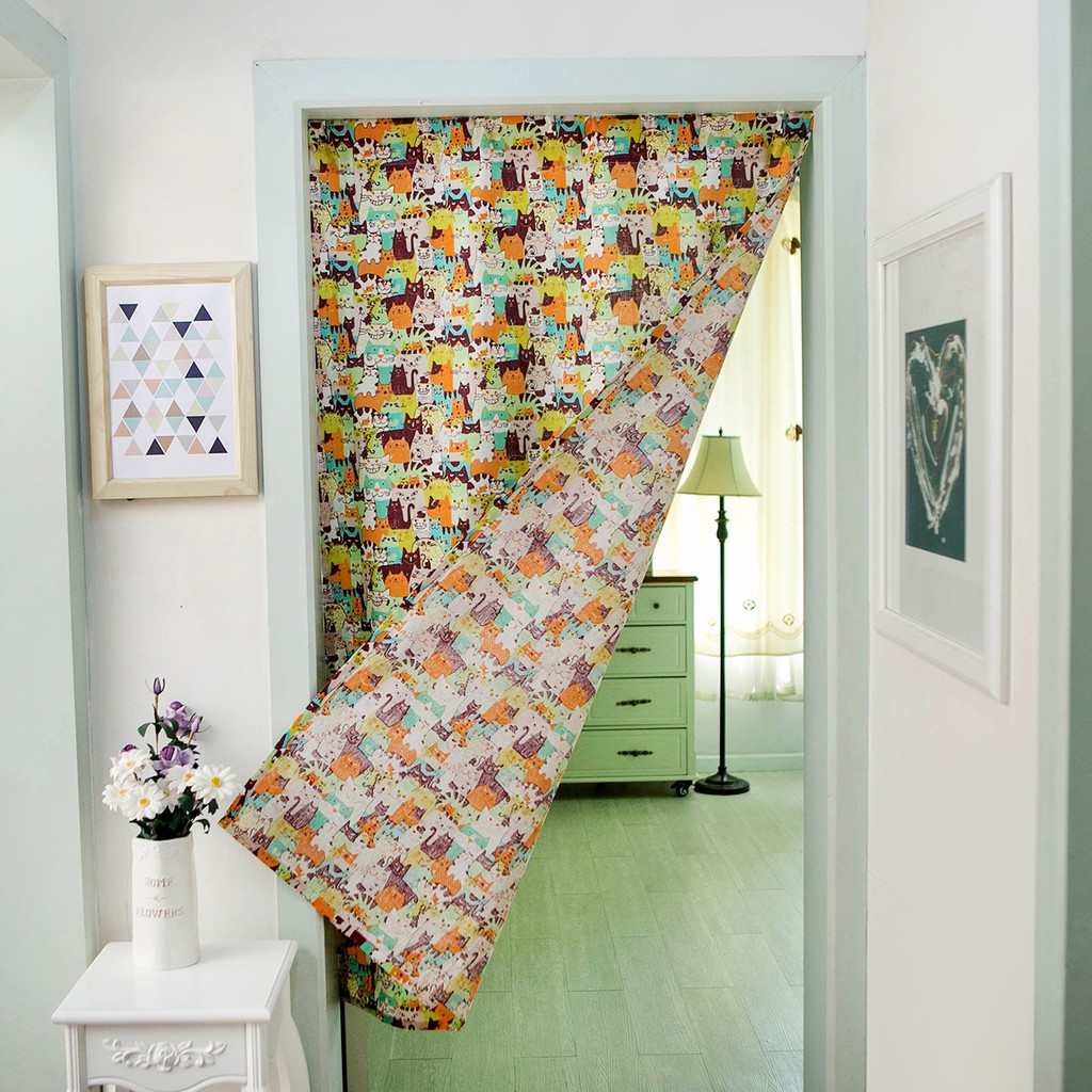 Color Cartoon Cat Pattern Cotton Linen Door Curtain Hanging Tapestry Partition | Shopee Malaysia
