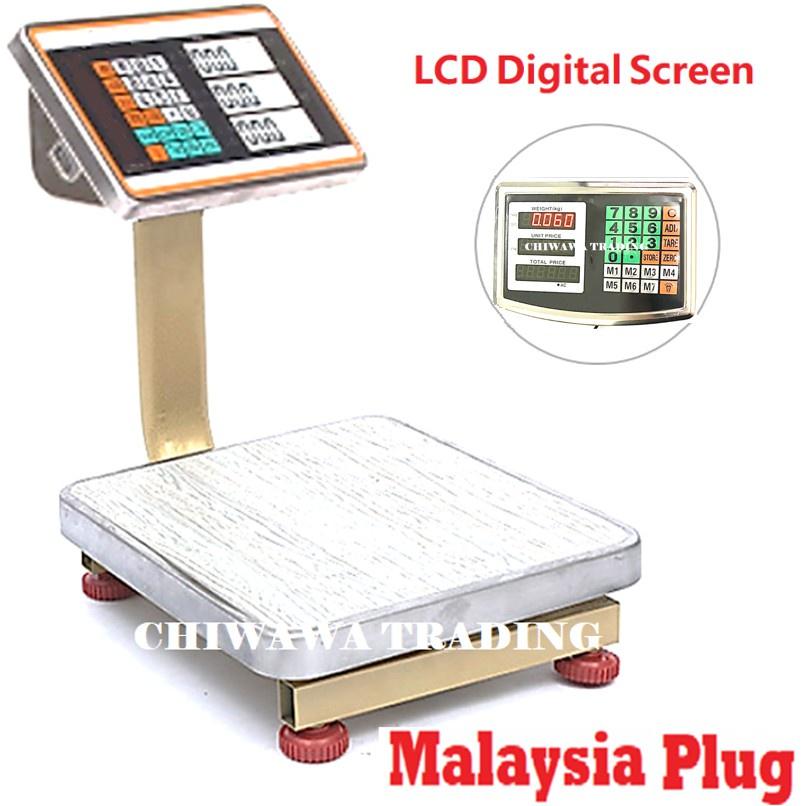 【Malaysia Plug】60kg Digital Price Computing Counting Weighing Standing Scale / Skala