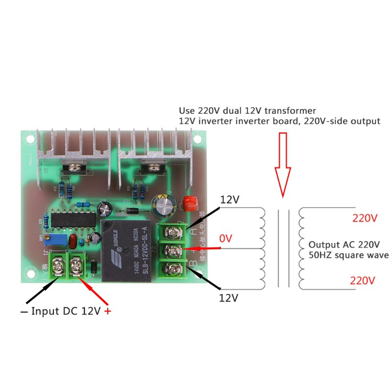 300W DC 12V To AC 220V Inverter Driver Board Power Module Drive Core  Transformer