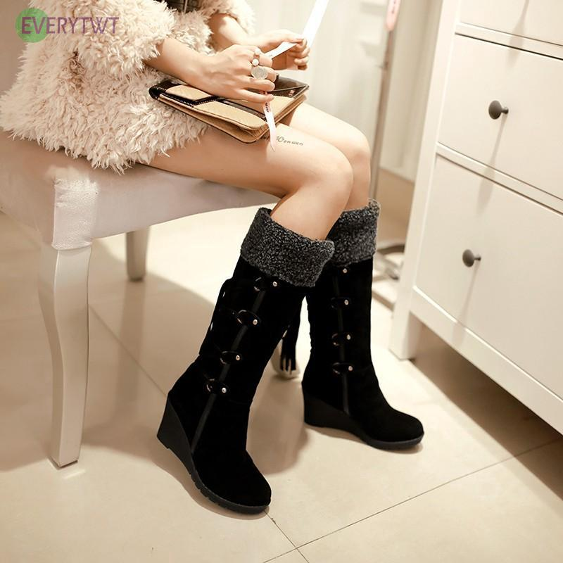 612007222f9 Winter Warm Comfy Women's Mid-Calf Boots Suede High Heeled Fur Lined ...