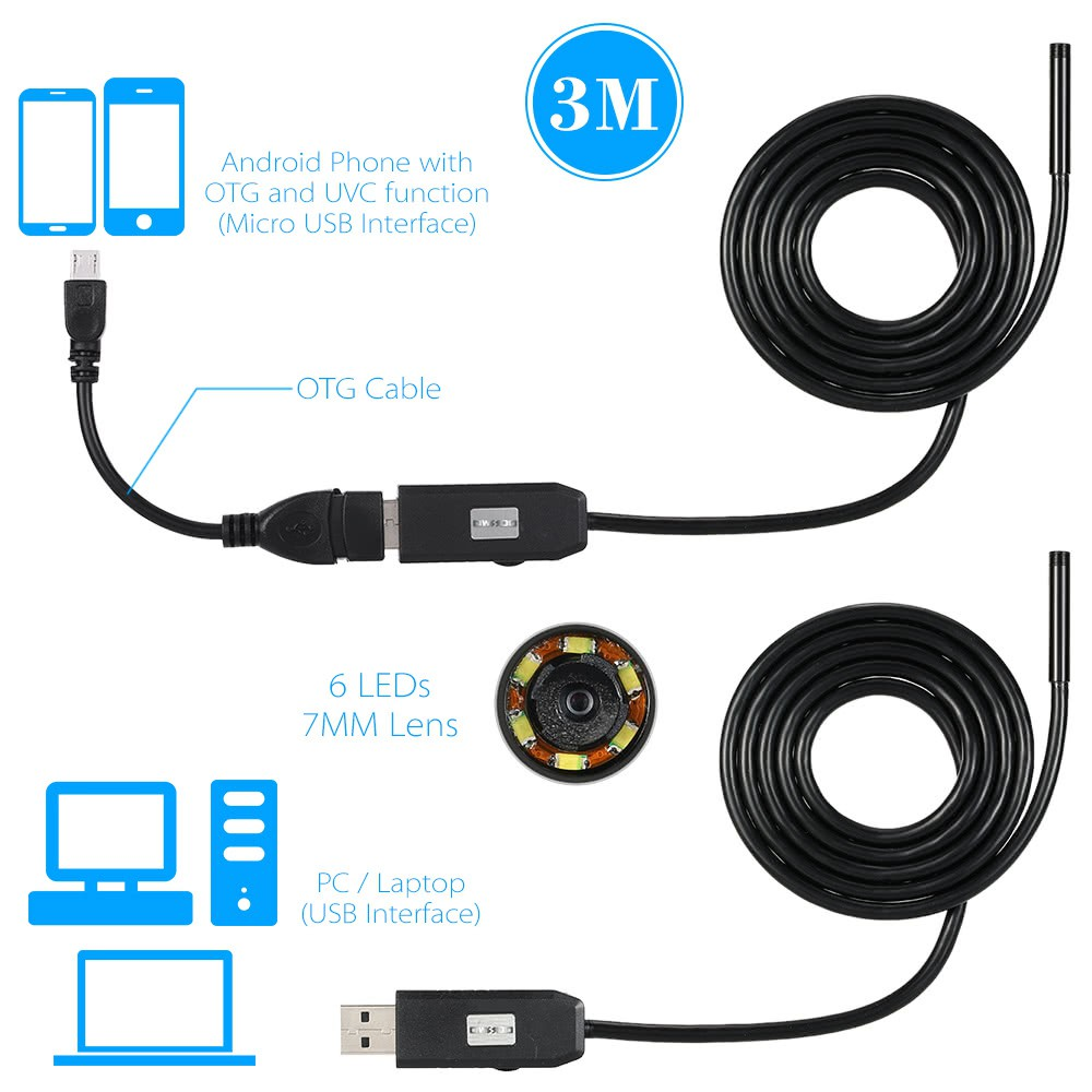 5.5MM HD Endoscope 10m Tube Inspection Camera for OTG Android UVC Laptop WIN8