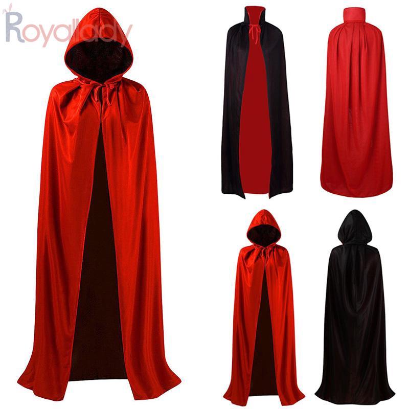 """New Adult Unisex 69/"""" Hooded Cape Long Cloak Black Halloween Costume Dress Coat W"""