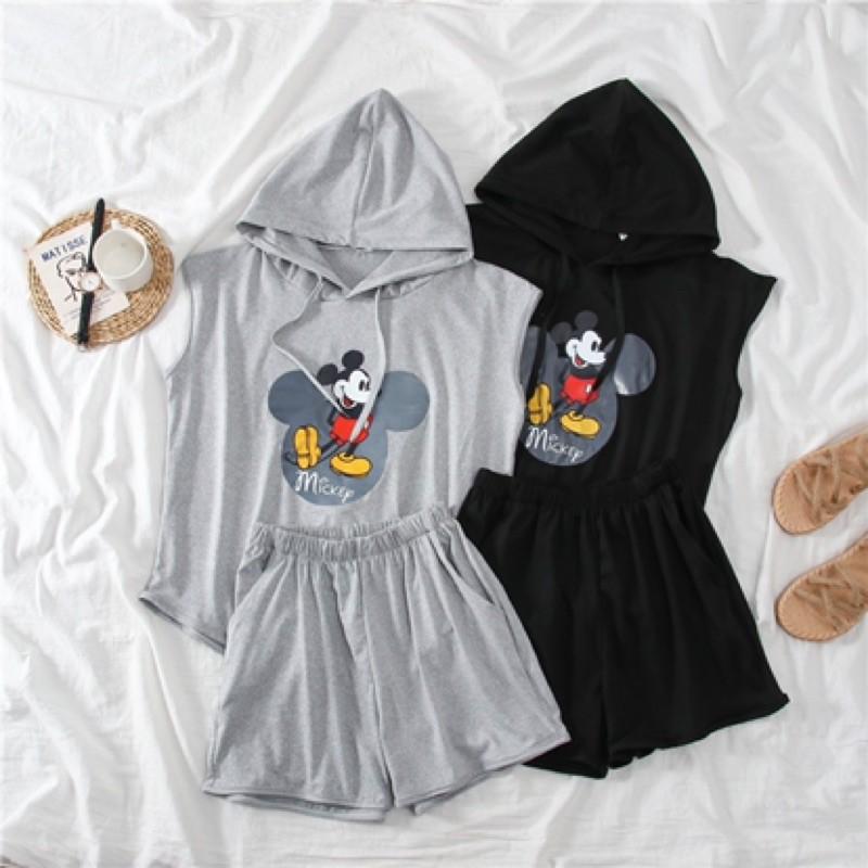 【M~2XL】Korean Casual Hooded sweater suit 韩国卫衣两件套装新款卡通米奇印花连帽纯色休闲运动装