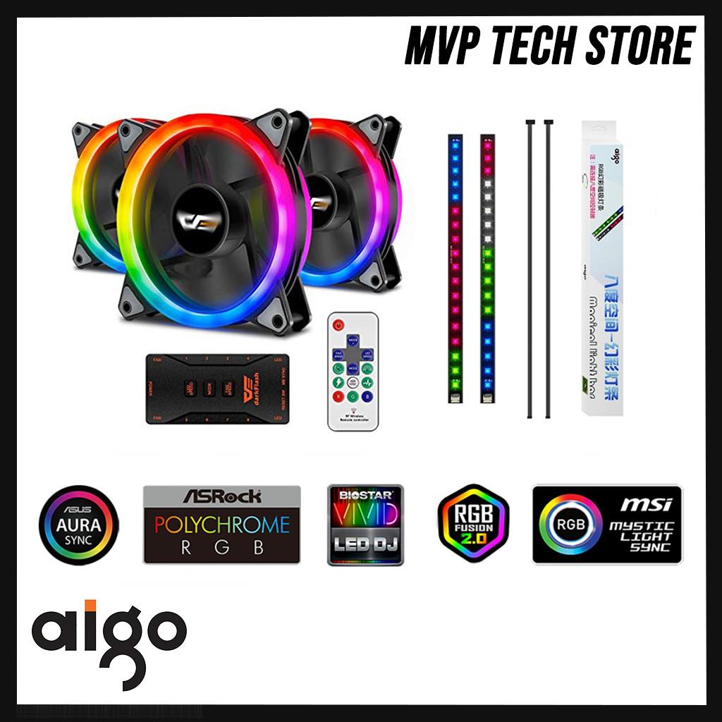 Aigo DR12 Pro Double Ring 3 in 1 ARGB Case Fan + RGB Strip