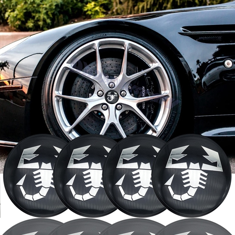 4 ABARTH Carbon Fiber Vinyl Wheel Rims Centre Cap Stickers Decals Fiat 500 Punto