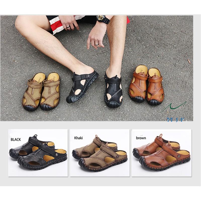 MJF Fashion Men's Cowhide Summer Beach Sandal Breathable Dua-use Outdoor  Shoes