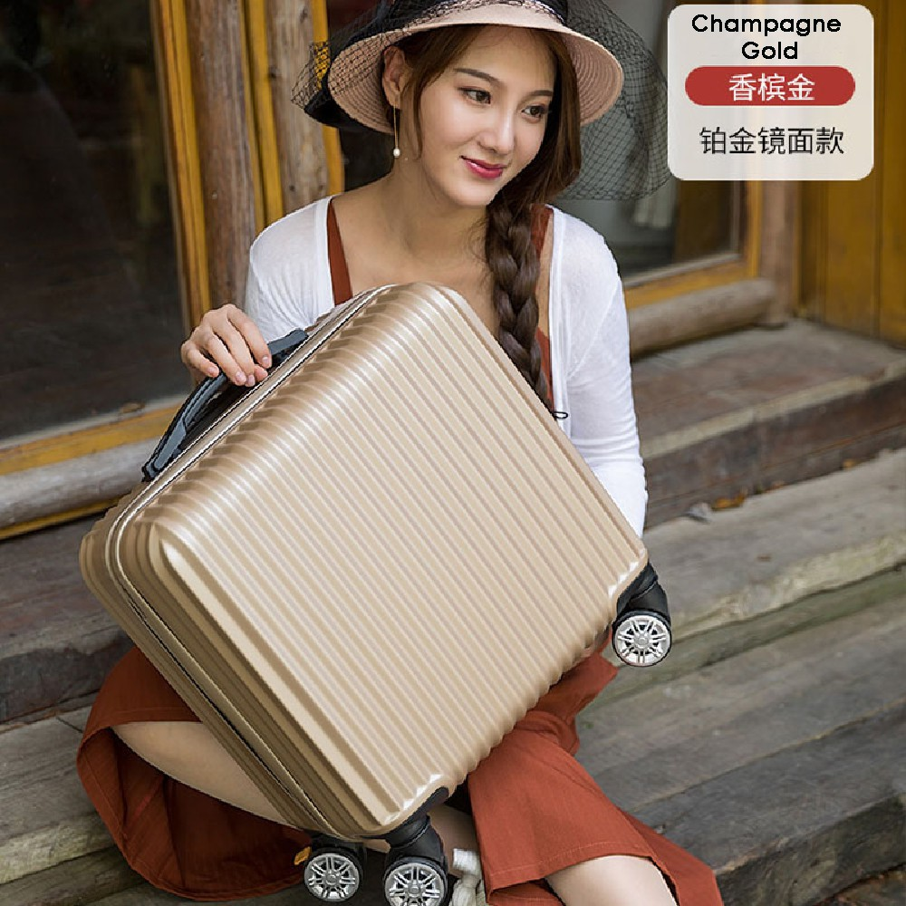 [Ready Stock] 18 inch Travel Luggage Suitcase Silent Wheel 360 Rotation Smooth FREE Luggage protector & Sticker