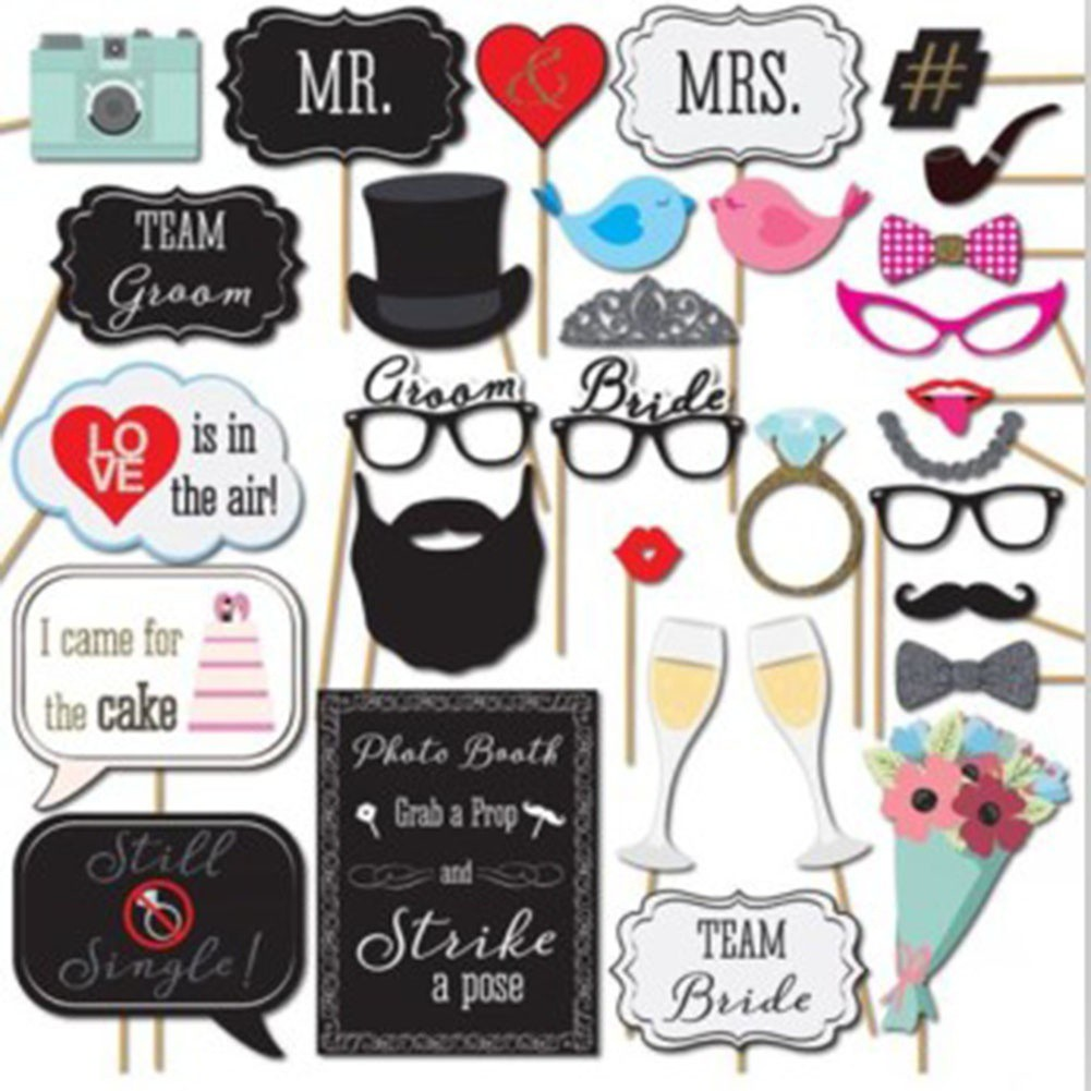 50a159066 76pc Fun Wedding Decoration Photo Booth Props Photobooth Party Xmas Supply  | Shopee Malaysia