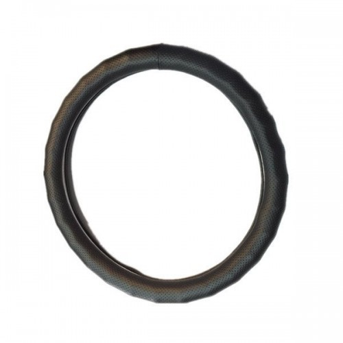 """Circle Cool, Black Leather Steering Wheel Cover Medium 14.25"""" to 15.25""""Universal"""