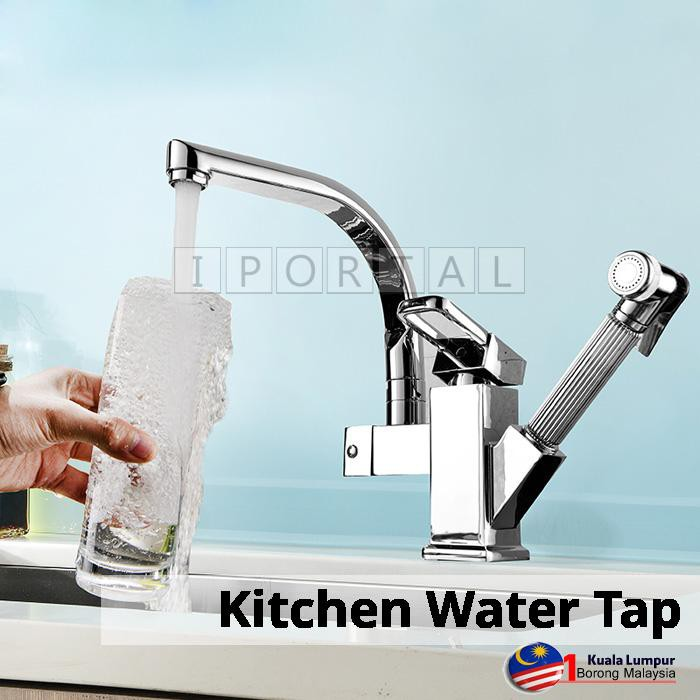 Kitchen Water Basin Sink Tap W Retractable Pull Out Spray Pipe
