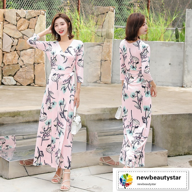 bd4d25a66cb49 Women Floral Maxi Dress Ankle-length Half Sleeve Lace-up Slim Bohemian  Dresses