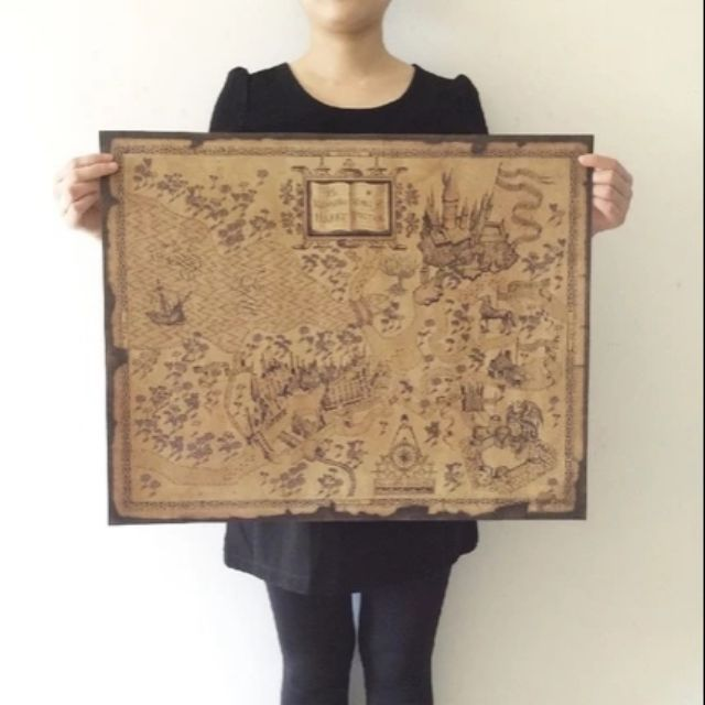 Wizarding World Of Harry Potter Marauders Map Poster Vintage Paper Wall 64x  51cm