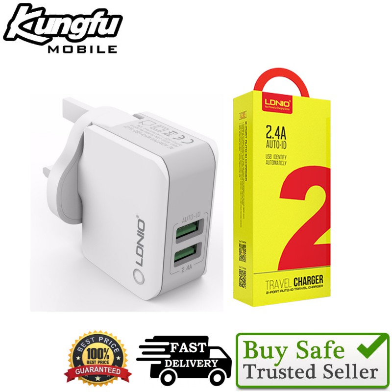 LDNIO 100% ORIGINAL A2203 UK CHARGER 2.4A WITH 2 USB PORT(FREE MICRO CABLE)