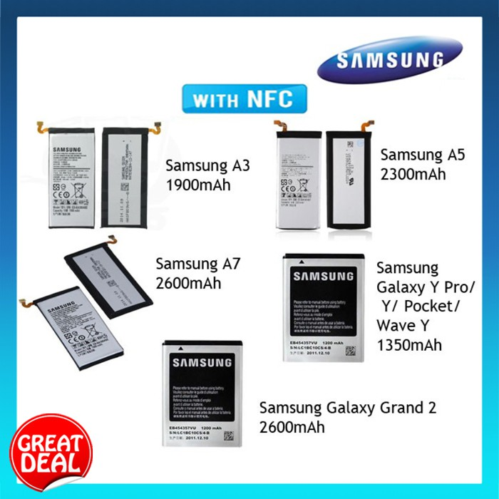 (Import) Original Quality Samsung Galaxy A3 /A5 /A7/ Y Pro/ Y / Pocket  Grand 2 Battery With NFC