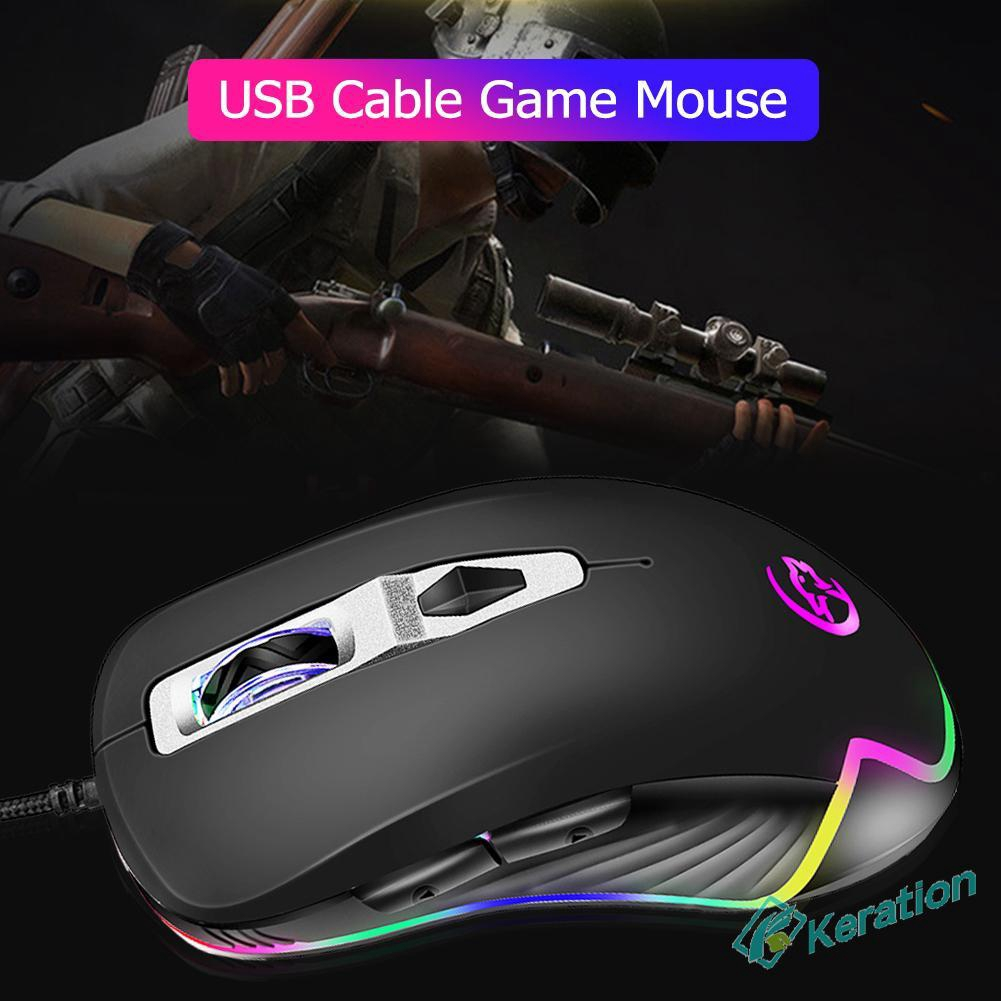 KR☪☪USB Wired 3200DPI Optic Gaming Mice RGB Backlight Ergonomic PC Laptop