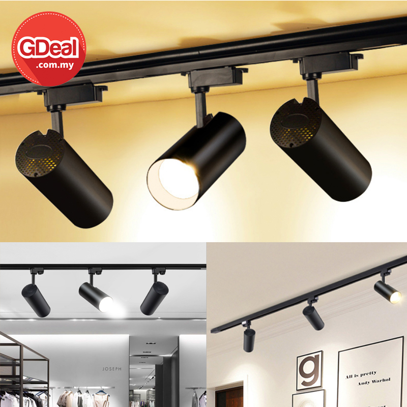 GDeal 30W Adjustable LED Black Surface Mounted Rail Ceiling Spotlight Track Light Bulb Lampu Siling