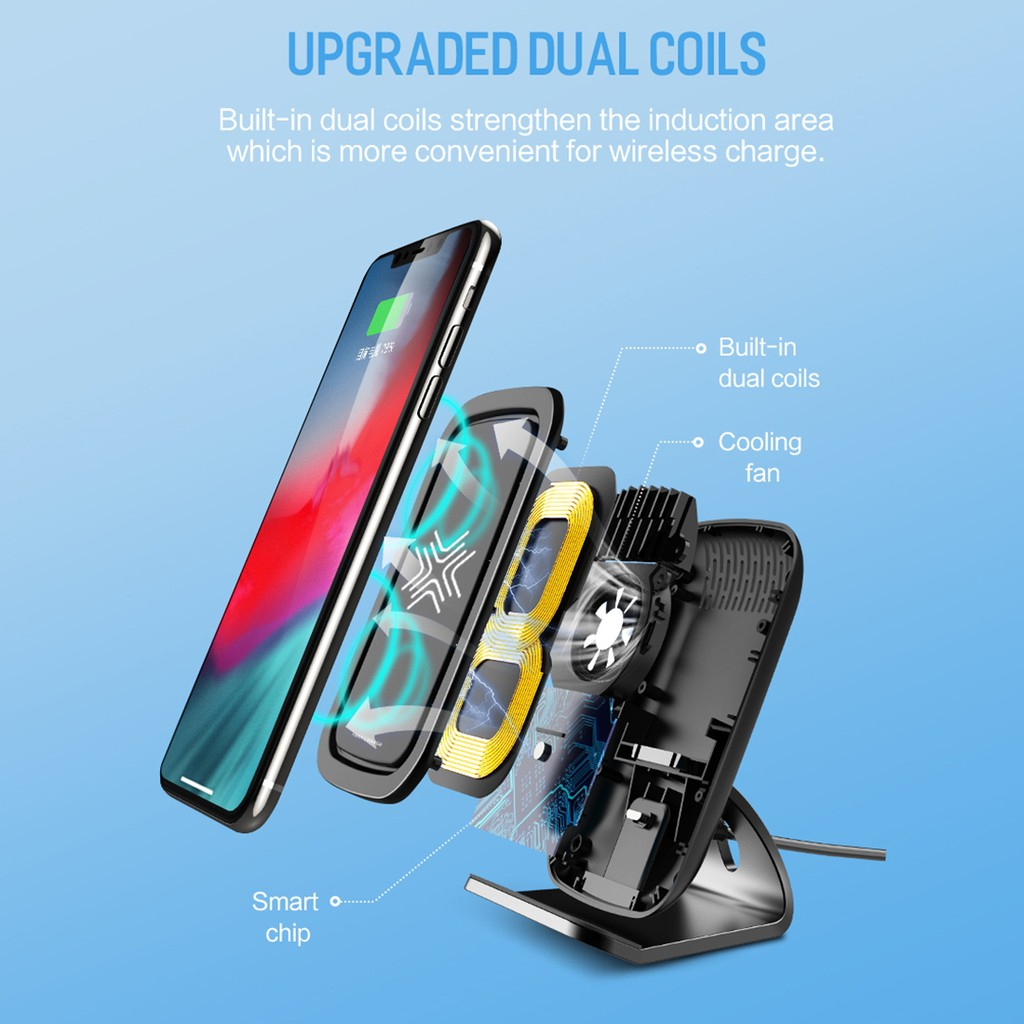 ROCK W17 Wireless Charger Stand with Cooling Fan | Shopee Malaysia
