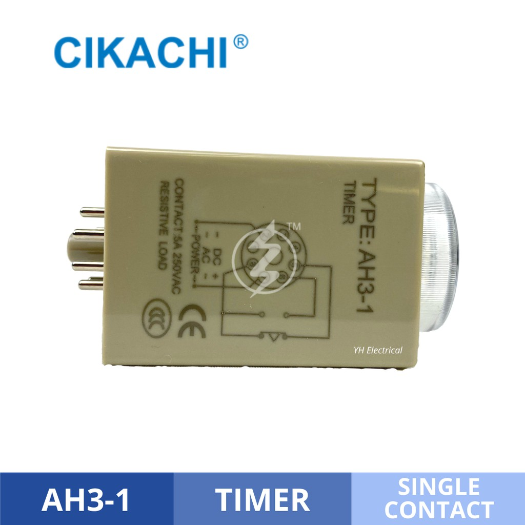 CIKACHI CKC IC Timer Relay AH3-1 10/30/60 Second 240VAC Analogue Type on Delay Single Contact