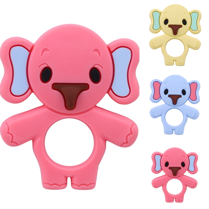 Baby Silicone Teether Toy Cute Elephant Teething Chewable Bite Toys