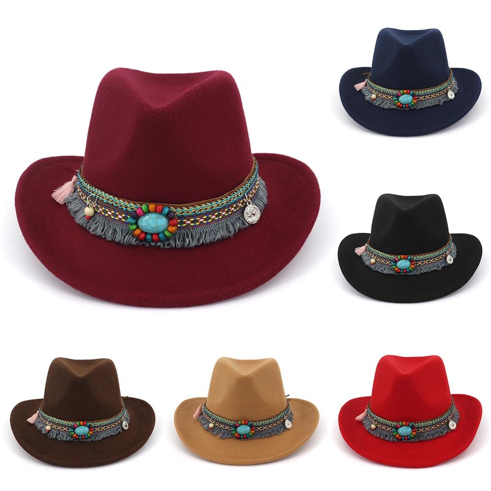 bd70d740f Vintage Womens Western Cowboy Hat Wide Brim Sombrero Sunhat Tassel Ribbon  Caps