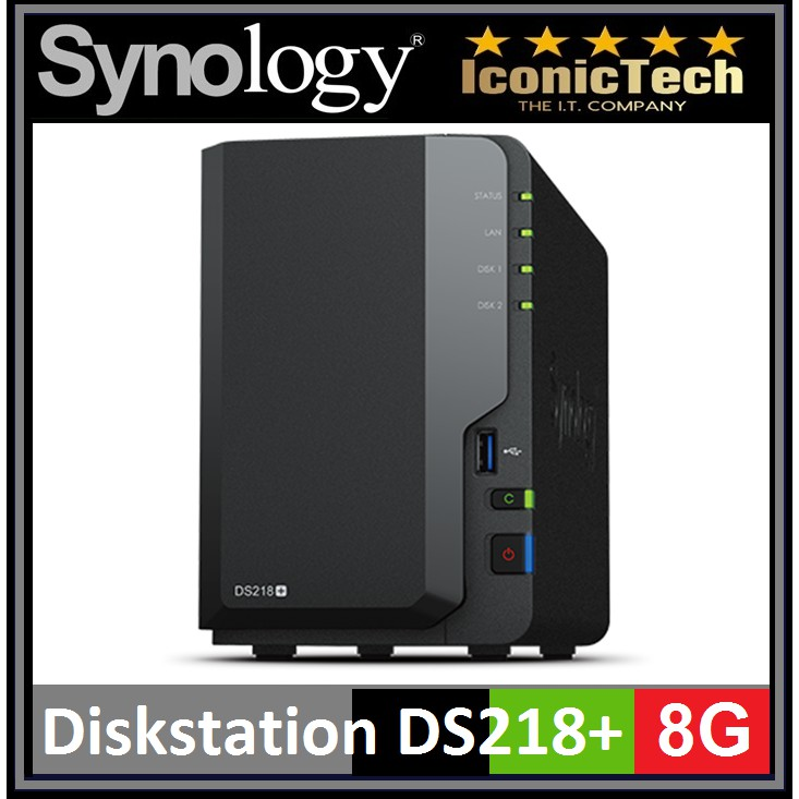 Synology Diskstation DS218+ (8GB) 2-Bay Diskless Nas (100% Ori Brand New)
