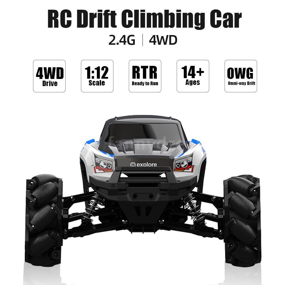 F&D 1/12 RC Car 4 Motors 4WD Stunt Drift Climbing Car High Speed Mecanum  Wheel RC Off-road Car Birth