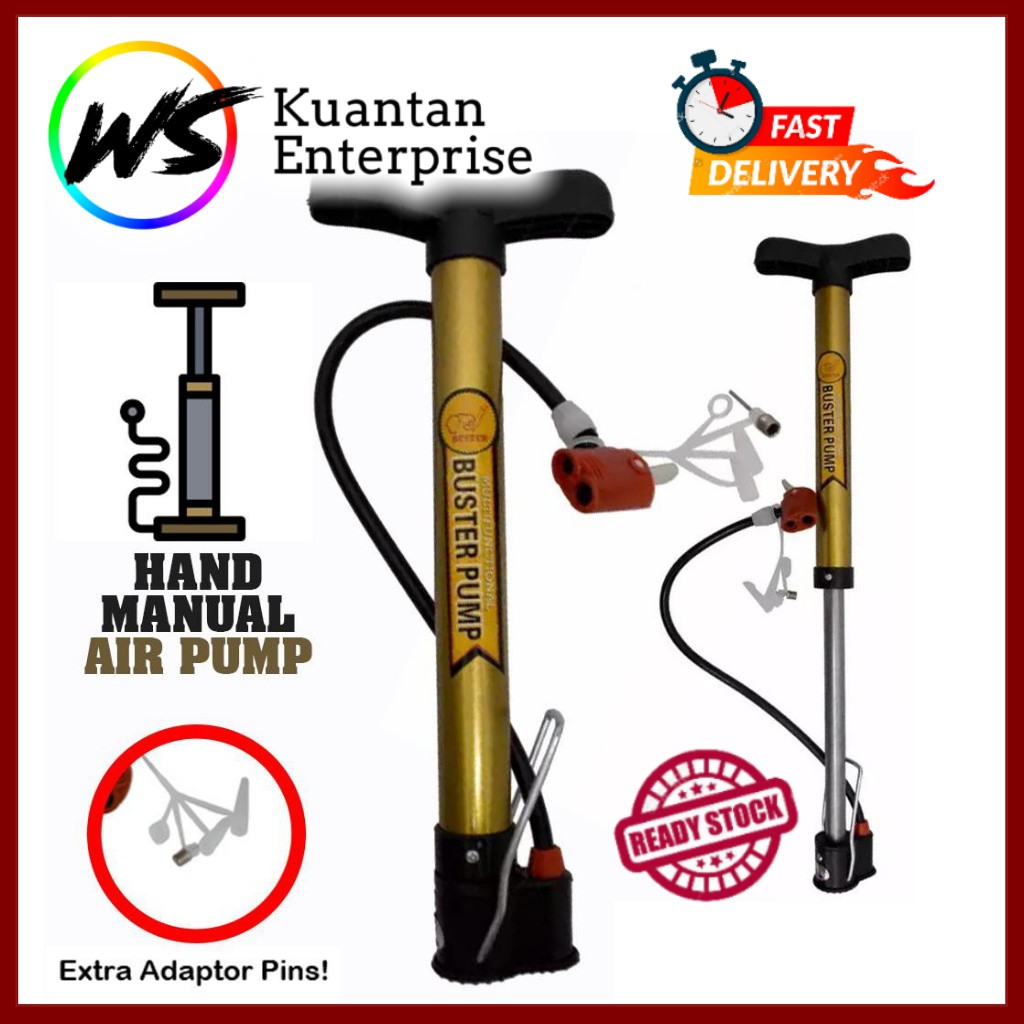 【100% Ready Stock】Buster Multifunctional Pump | Manual Air Pump 120psi (RANDOM COLOUR)