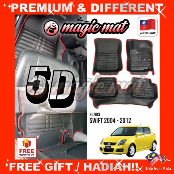 [FREE GIFT Gift] SUZUKI SWIFT 2004 - 2012 (5 Seater) MAGIC MAT 5D OEM PU Leather Floor Mat Anti-Slip Carpet