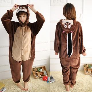 7ff88760673 Adult Flannel Pajamas Animal Chipmunk Kigurumi Onesies Cosplay ...