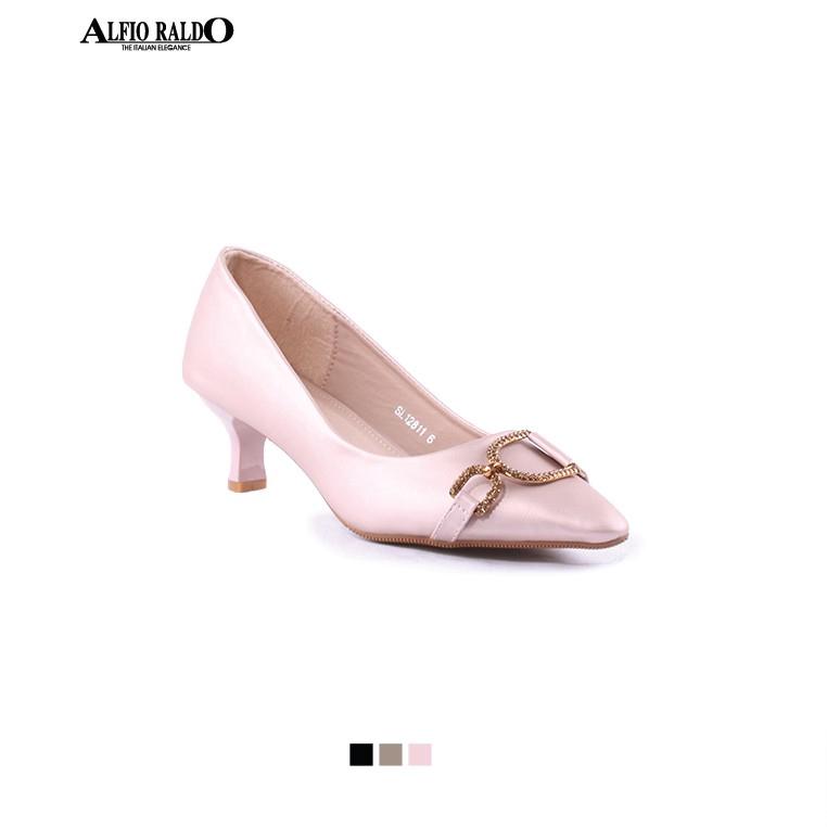Alfio Raldo Women Formal Black Office Wear Court Shoes Kitten Heel with Front Brown Textured Metal Strip