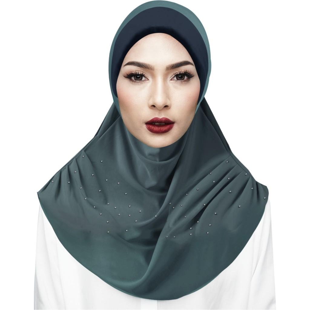 Sawks Hijab Full Instant - 2 Loops, Rhinestones Design