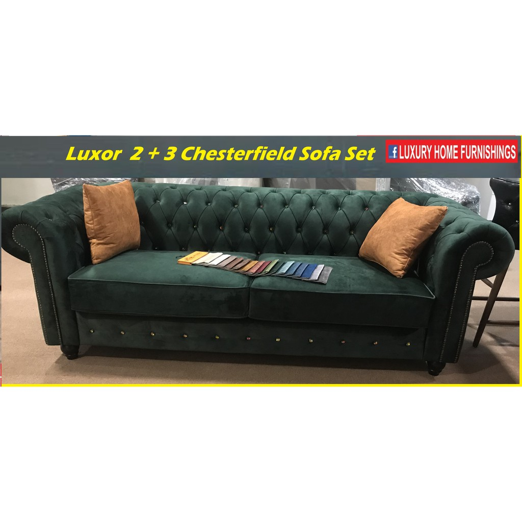 Luxor 2 +3  SEATER CHESTERFIELD SOFA SET, IMPORTED FIBER GUARD FABRIC, HARI RAYA SPECIAL!! RM 5,749!! 40% Off!!