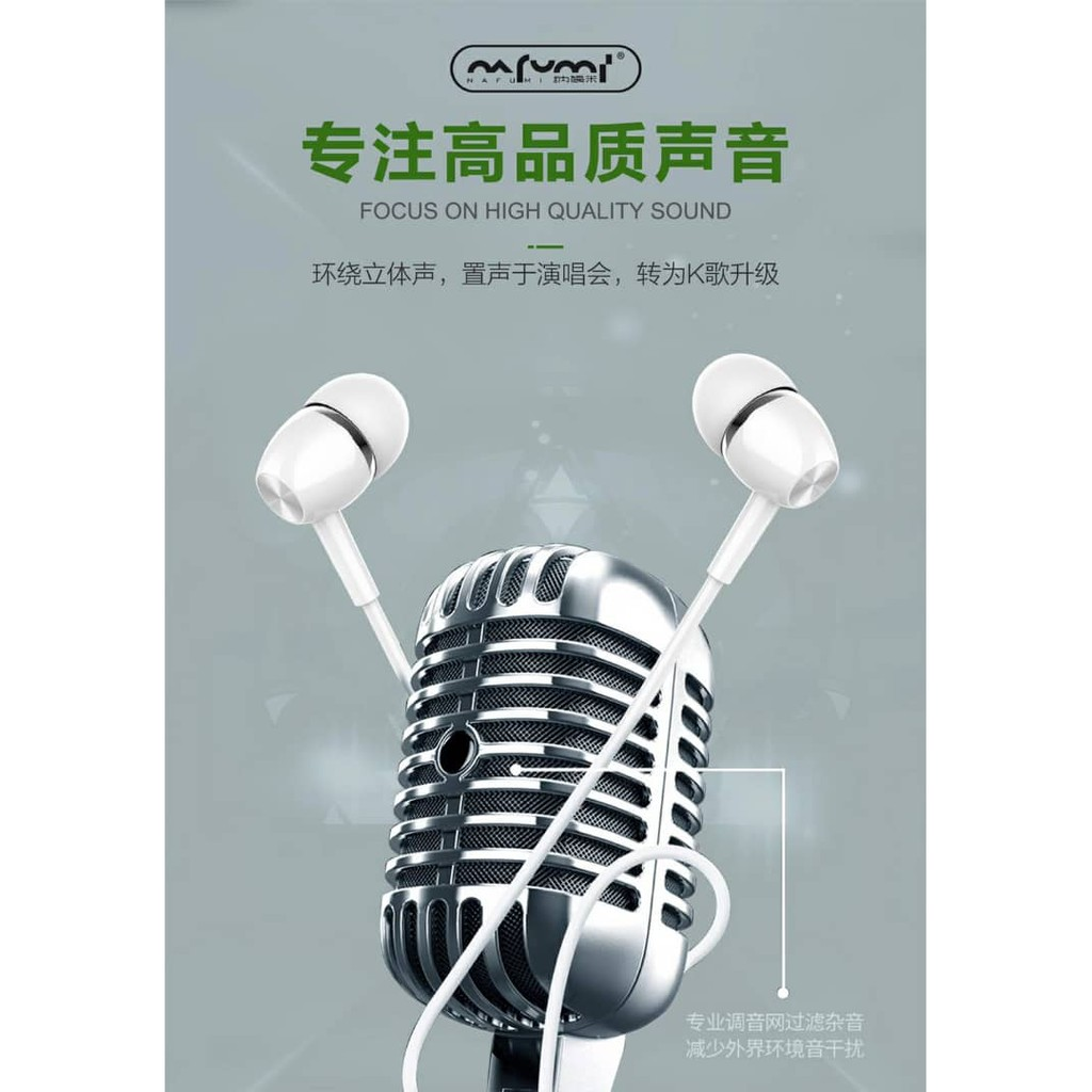 NAFUMI X36 WIRED MUSIC EARPHONE EXQUISITE ACOUSTIC DESIGN POWERFUL HIFI MUSIC BUILT IN MICROPHONE INLINE CONTROL COMFY