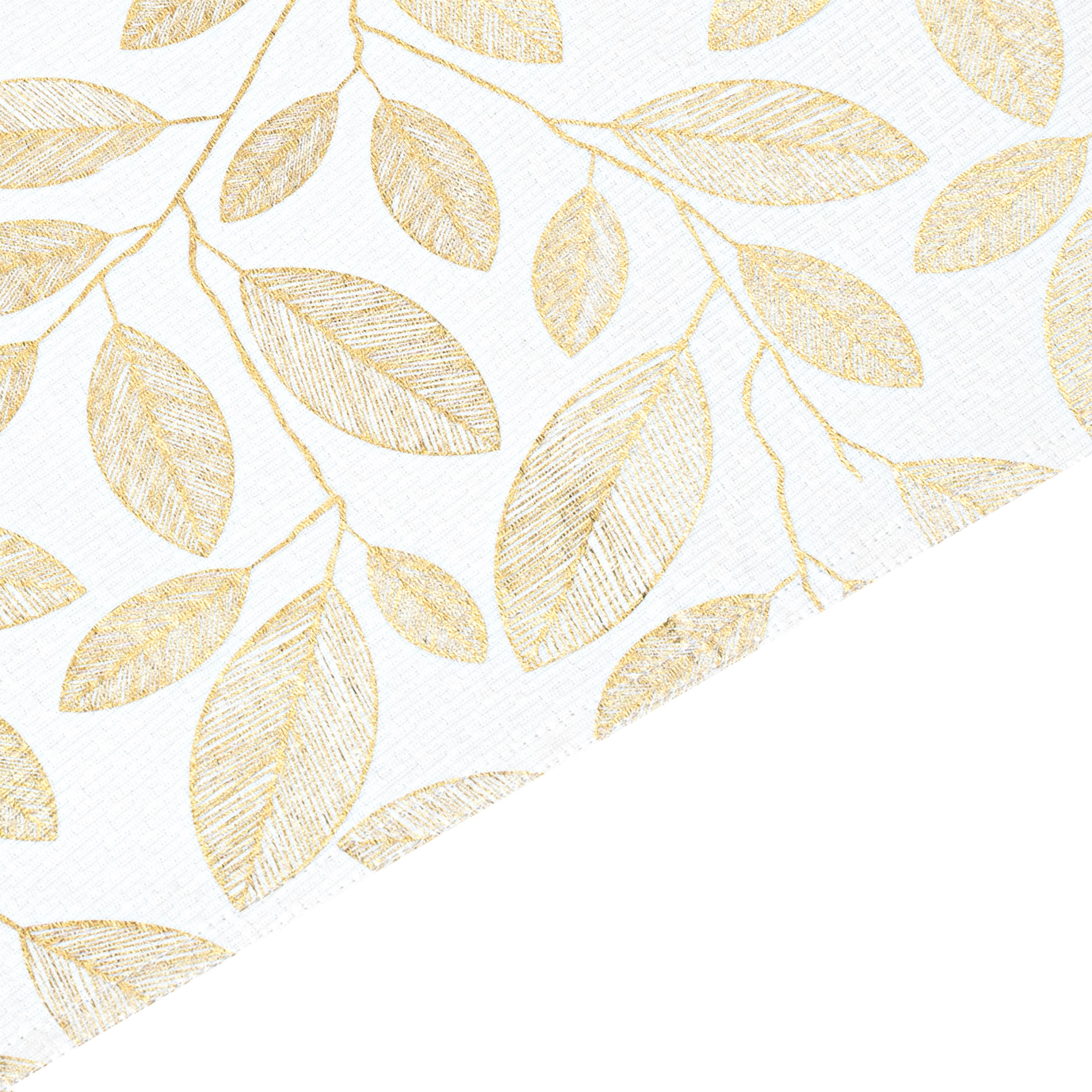 Gold Leaf Foil Printed Rectangle Placemats/Table Mats With Solid Lining. Set Of 2,4 Or 6 (Gold and White)