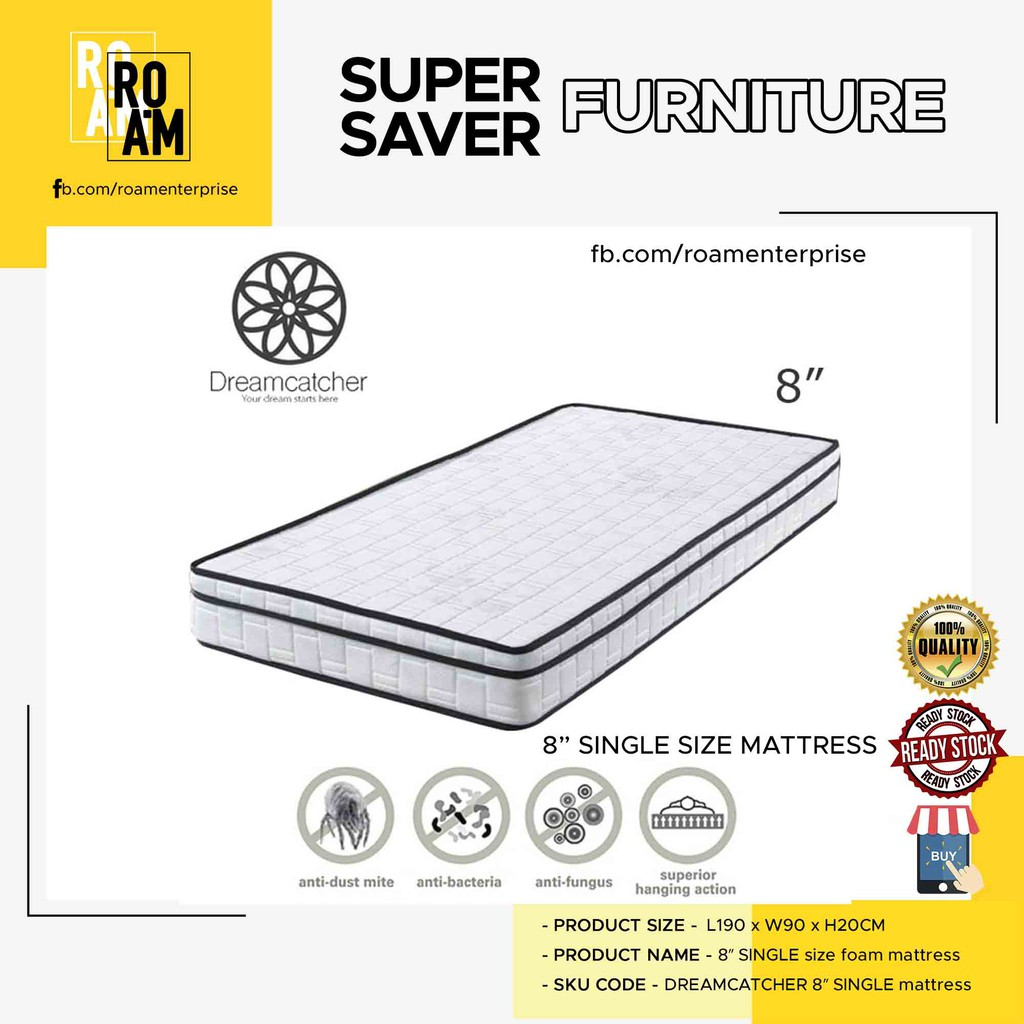 DREAMCATCHER 8″ single size eurotop quilting rebonded foam mattress INCLUDE SHIPPING