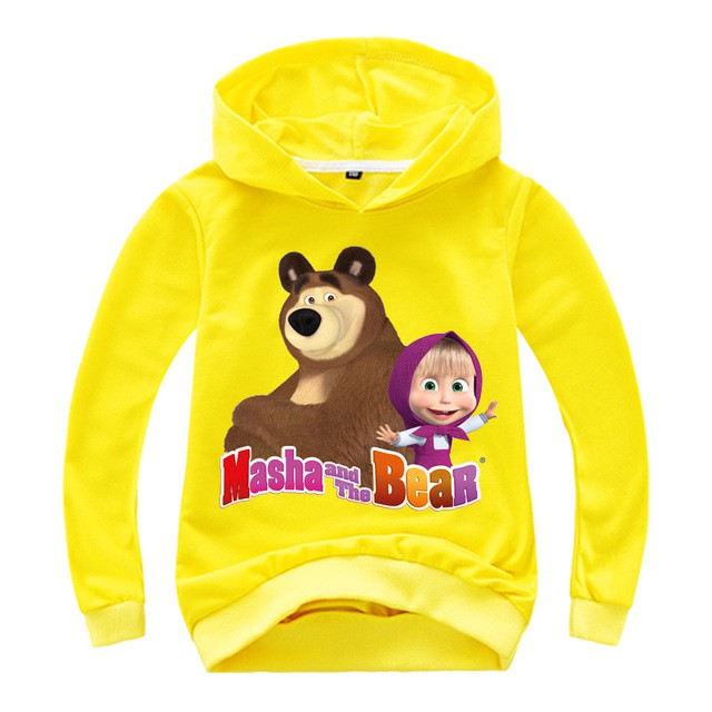 Girls Children Masha and the Bear Long Sleeve Tee Tshirt Top Age 2-8 years