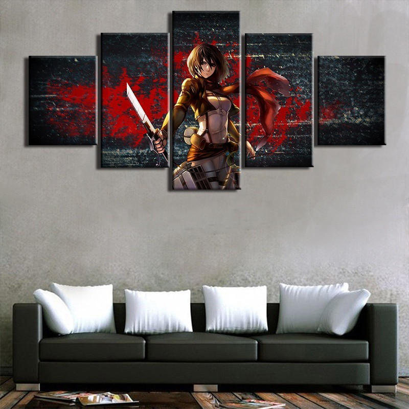 5 Panels Anime Figure Attack On Titan Background Wall Art Canvas Painting Shopee Malaysia