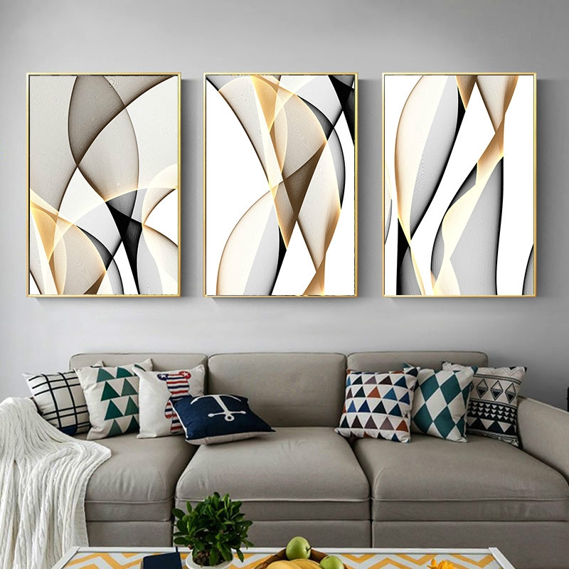Abstract Canvas Line Wall Art Decor Picture For Living Room Nordic Home Poster Shopee Malaysia