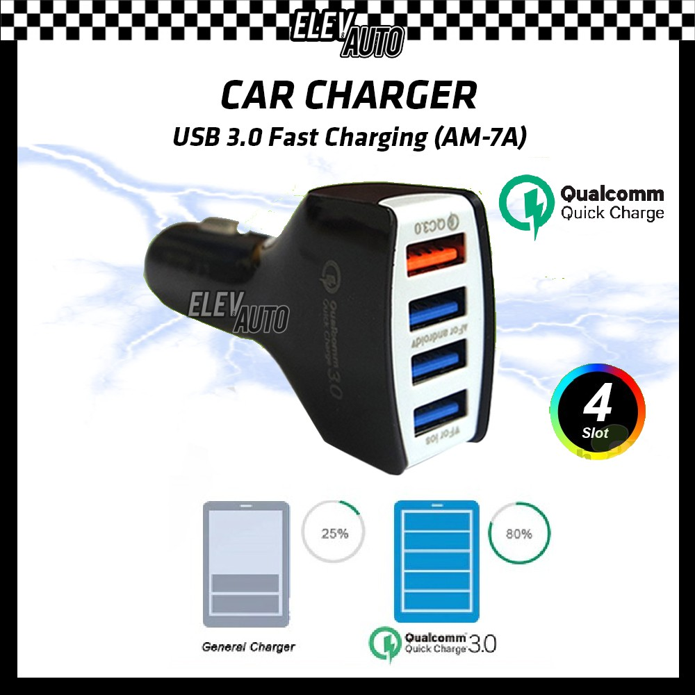 Car Charger Quick Charge Fast Charging 3.0 USB 4 Slots (AM-7A)