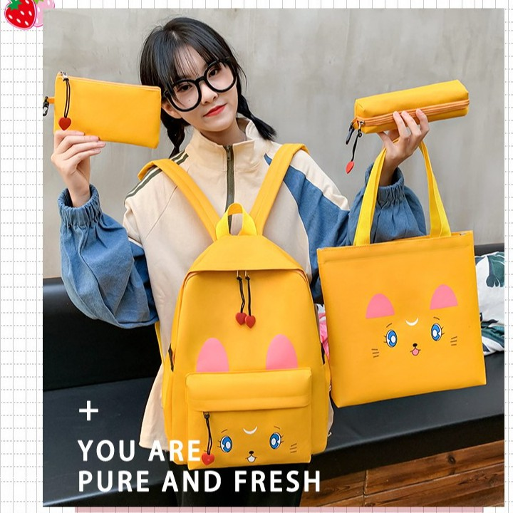 Girl Backpack Moon Cat Design Backpack 4 IN ONE Sets  少女月亮猫猫背包 BP0015