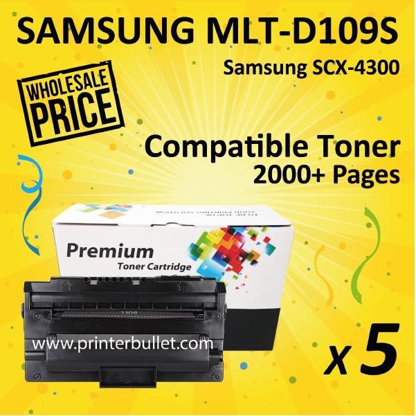 5 unit Compatible Laser Toner Cartridge Samsung MLT-D109S / 109S / 109 / MLTD109
