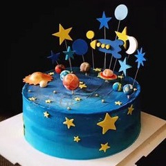 Excellent Ready Stock 15Pcs Rocket Star And Moon Birthday Full Moon Cake Personalised Birthday Cards Paralily Jamesorg