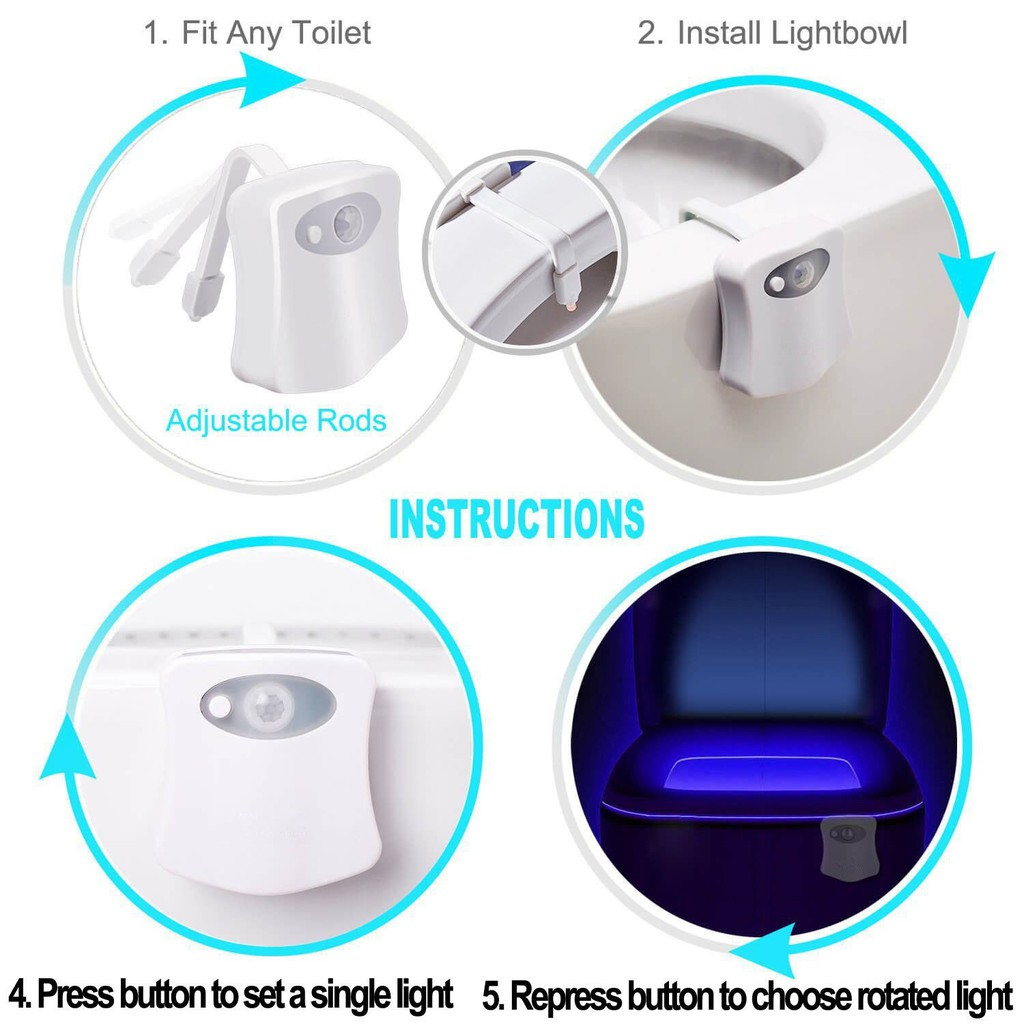 LED Toilet Bowl Night Light Motion Light Activated Flexible Arm 8 Colors ST709