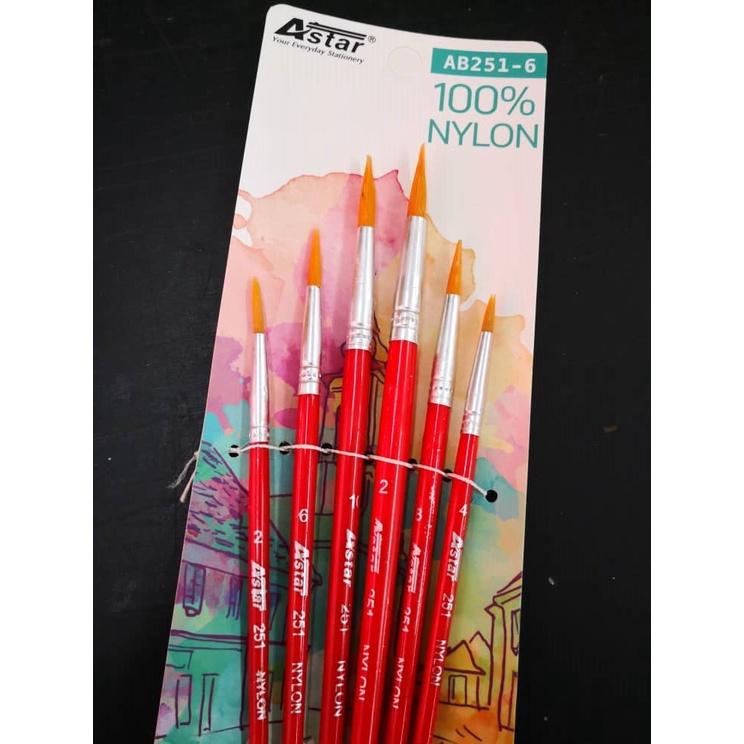 Astar Artist Nylon Brush Set of 6 (Flat / Round) Watercolour brush / Berus Seni Lukisan