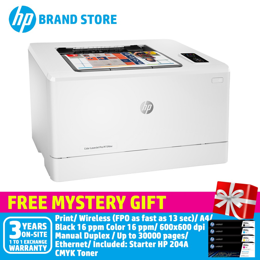 HP Color LaserJet Pro M154nw Printer T6B52A+Free Mystery Gift
