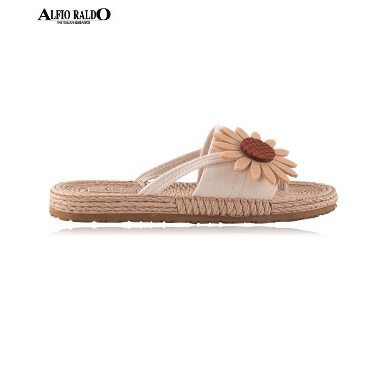 Alfio Raldo Easy Wear Open Toe Biege with Sunflower Cutout Design Sandal