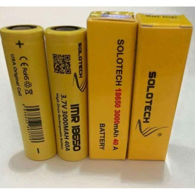 Solotech 18650 Battery 40Amp 3000Mah Drain Rechargeable Vape Battery.